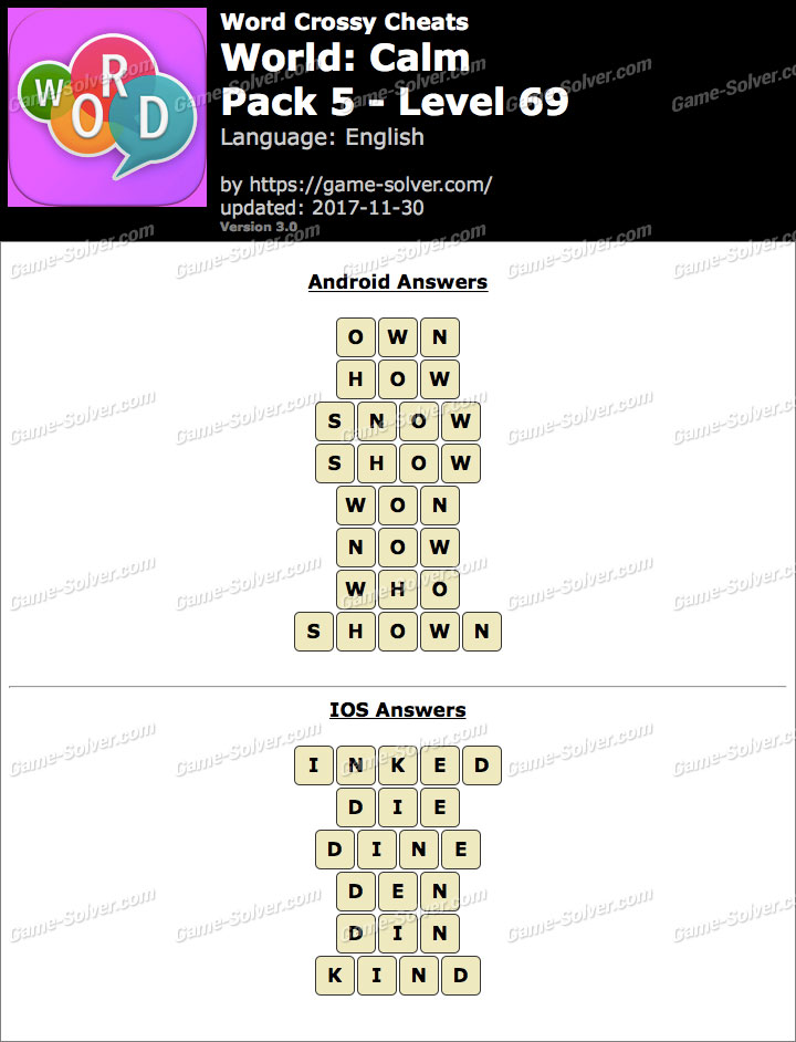 Word Crossy Calm Pack 5 Level 69 Answers