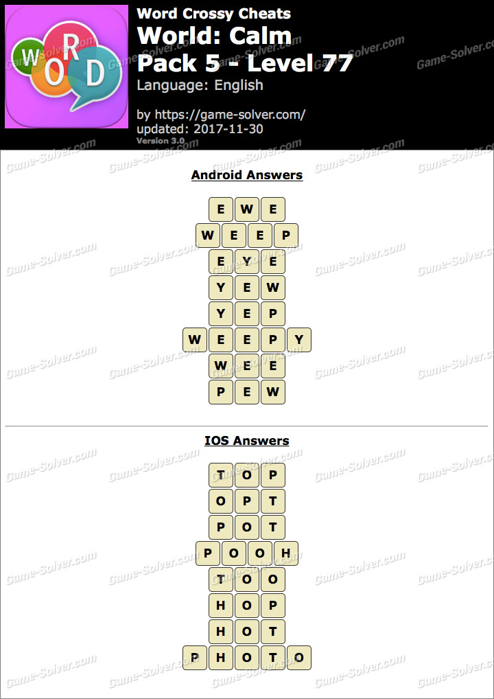 Word Crossy Calm Pack 5 Level 77 Answers