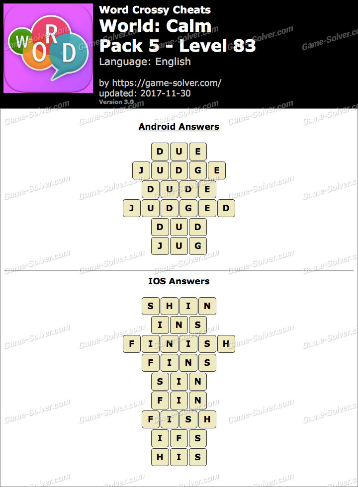 Word Crossy Calm Pack 5 Level 83 Answers