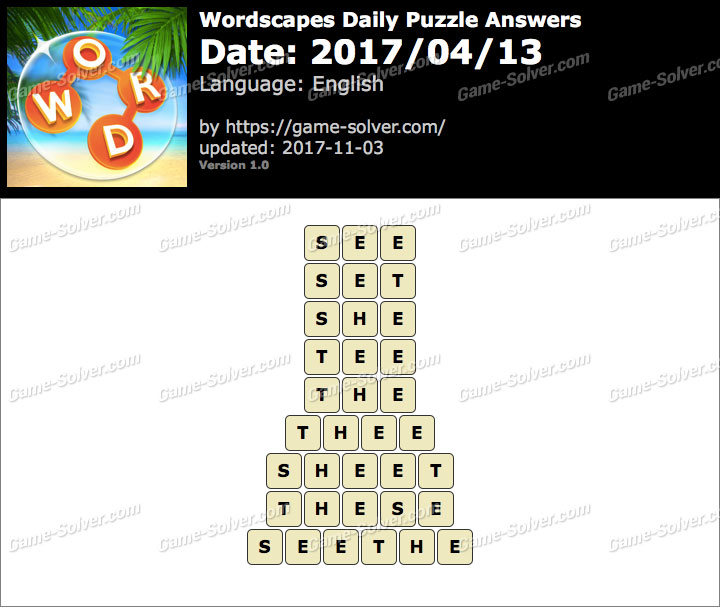 Wordscapes Daily Puzzle 2017 April 13 Answers