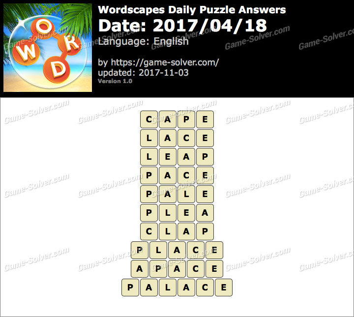 Wordscapes Daily Puzzle 2017 April 18 Answers