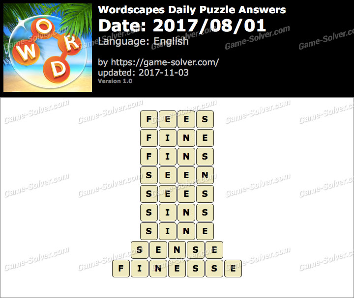 Wordscapes Daily Puzzle 2017 August 01 Answers