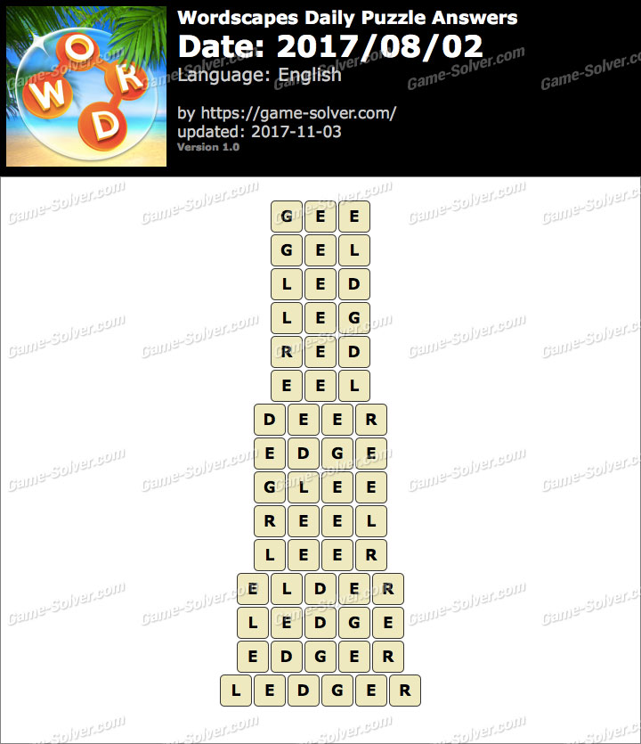 Wordscapes Daily Puzzle 2017 August 02 Answers