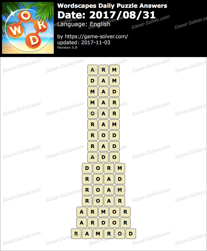 Wordscapes Daily Puzzle 2017 August 31 Answers