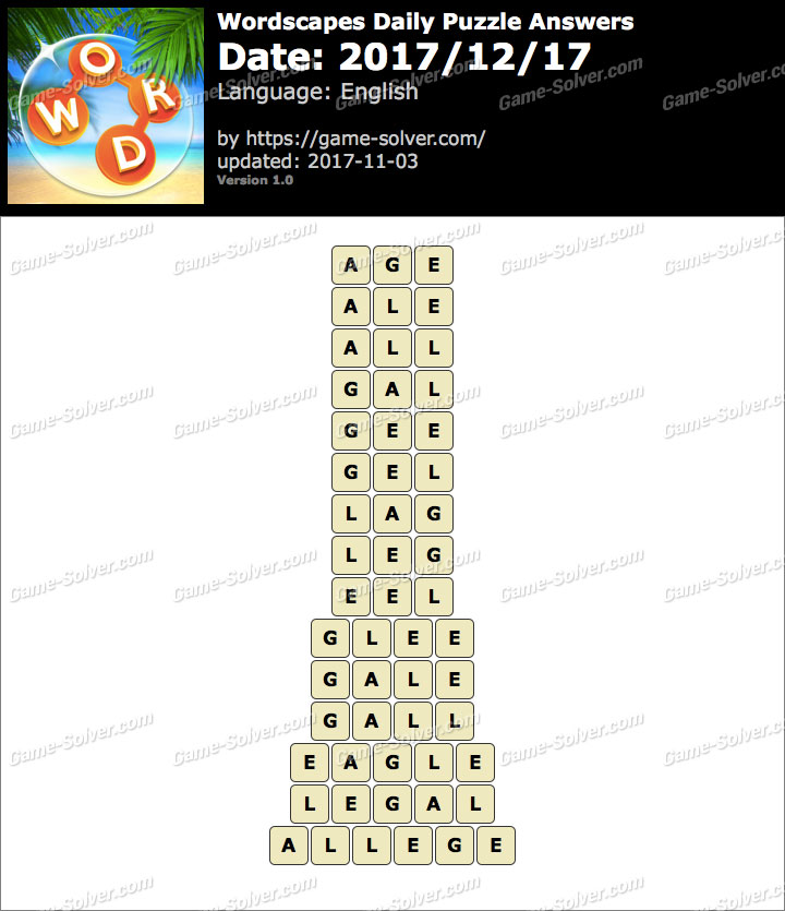 Wordscapes Daily Puzzle 2017 December 17 Answers