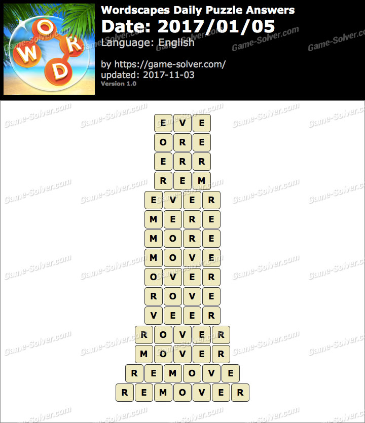 Wordscapes Daily Puzzle 2017 January 05 Answers