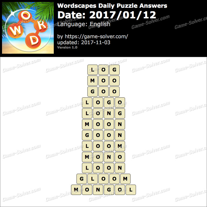 Wordscapes Daily Puzzle 2017 January 12 Answers