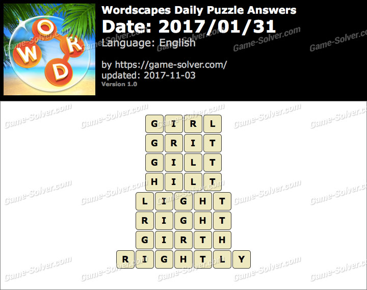 Wordscapes Daily Puzzle 2017 January 31 Answers