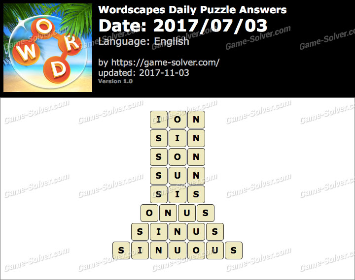 Wordscapes Daily Puzzle 2017 July 03 Answers
