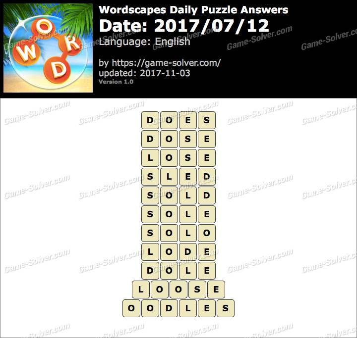 Wordscapes Daily Puzzle 2017 July 12 Answers