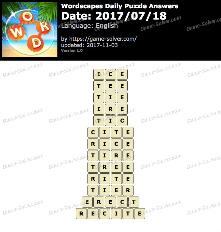 Wordscapes Daily Puzzle 2017 July 18 Answers