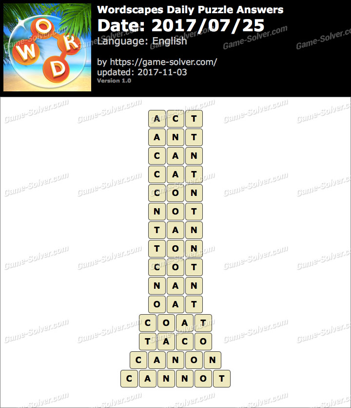 Wordscapes Daily Puzzle 2017 July 25 Answers