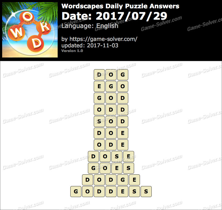 Wordscapes Daily Puzzle 2017 July 29 Answers