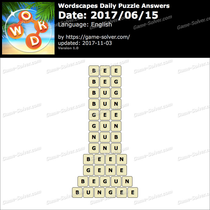 Wordscapes Daily Puzzle 2017 June 15 Answers