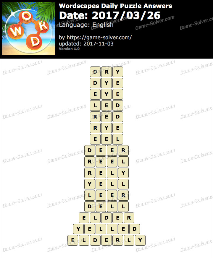 Wordscapes Daily Puzzle 2017 March 26 Answers
