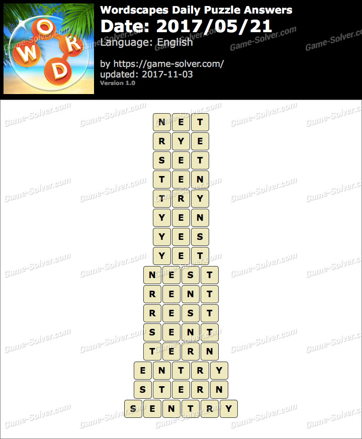 Wordscapes Daily Puzzle 2017 May 21 Answers