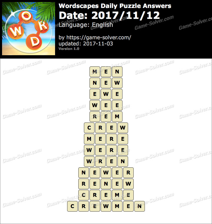 Wordscapes Daily Puzzle 2017 November 12 Answers