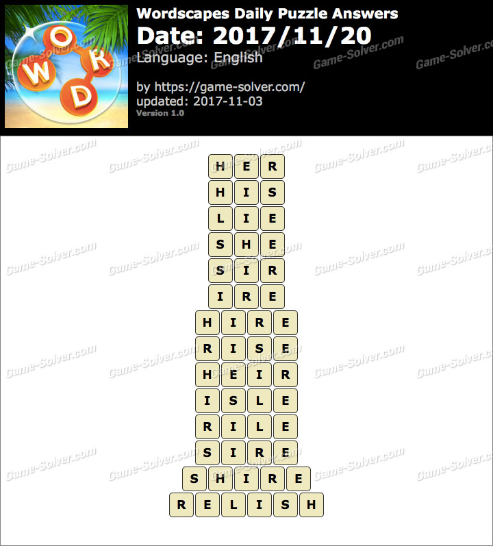 Wordscapes Daily Puzzle 2017 November 20 Answers