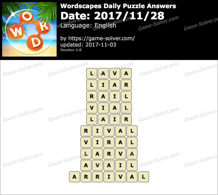 Wordscapes Daily Puzzle 2017 November 28 Answers