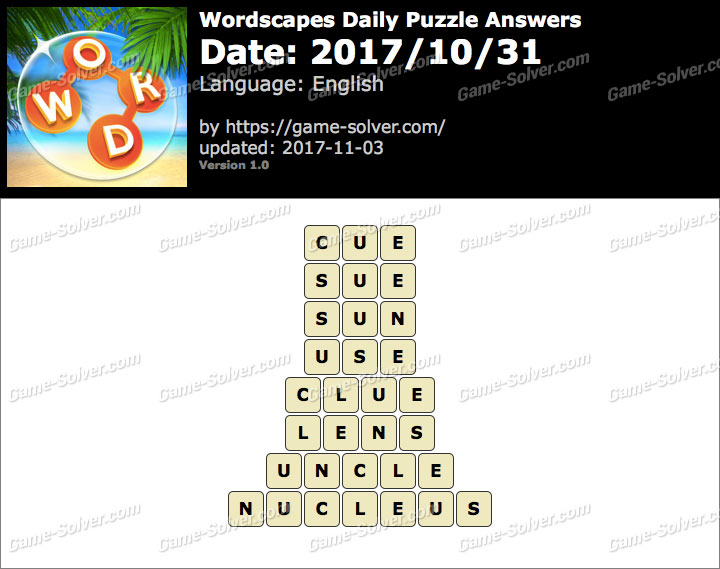 Wordscapes Daily Puzzle 2017 October 31 Answers