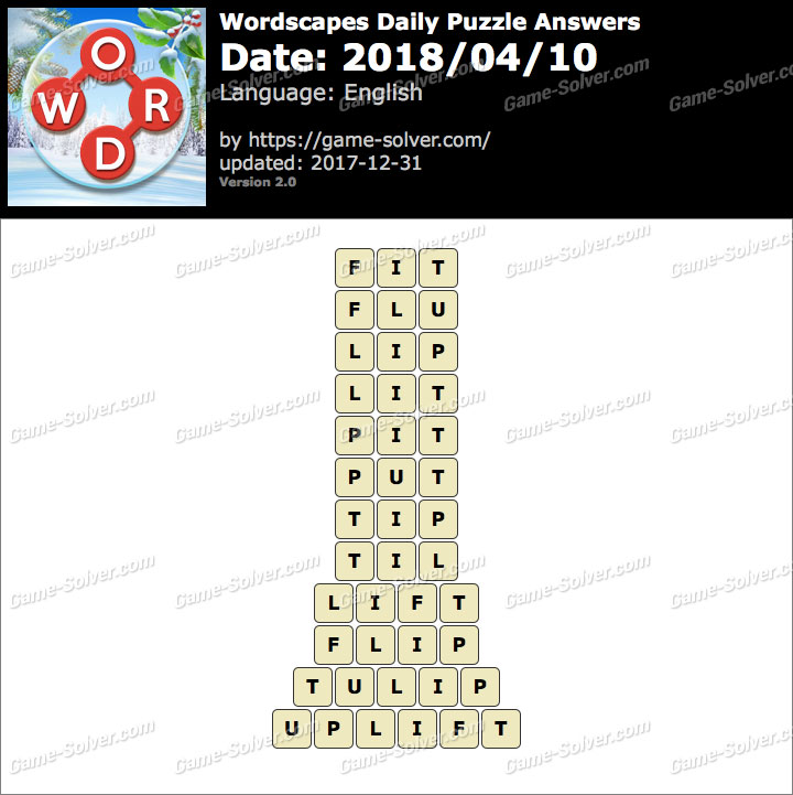 Wordscapes Daily Puzzle 2018 April 10 Answers