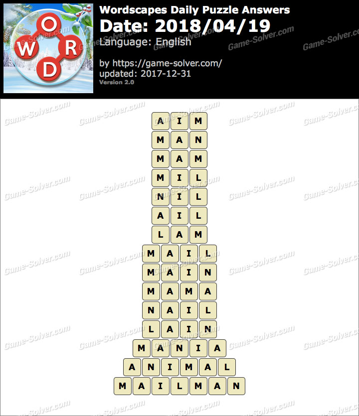 Wordscapes Daily Puzzle 2018 April 19 Answers