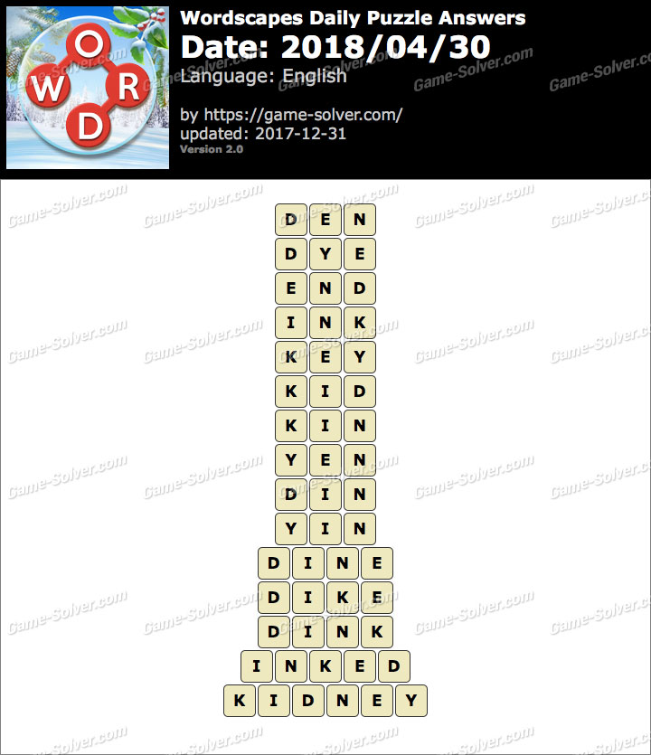 Wordscapes Daily Puzzle 2018 April 30 Answers