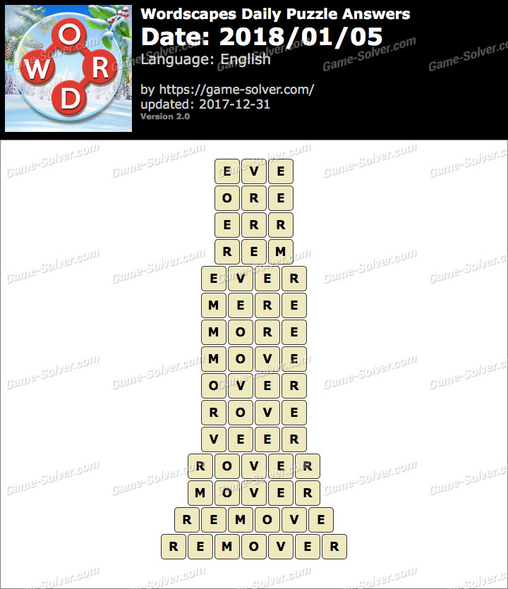 Wordscapes Daily Puzzle 2018 January 05 Answers