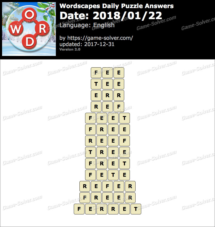Wordscapes Daily Puzzle 2018 January 22 Answers