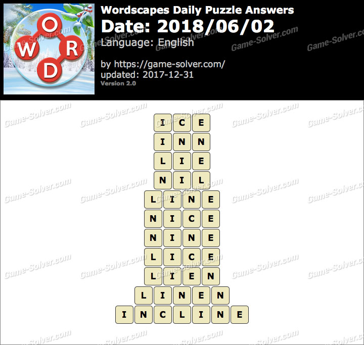 Wordscapes Daily Puzzle 2018 June 02 Answers