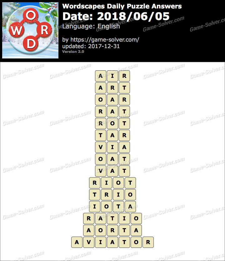 Wordscapes Daily Puzzle 2018 June 05 Answers