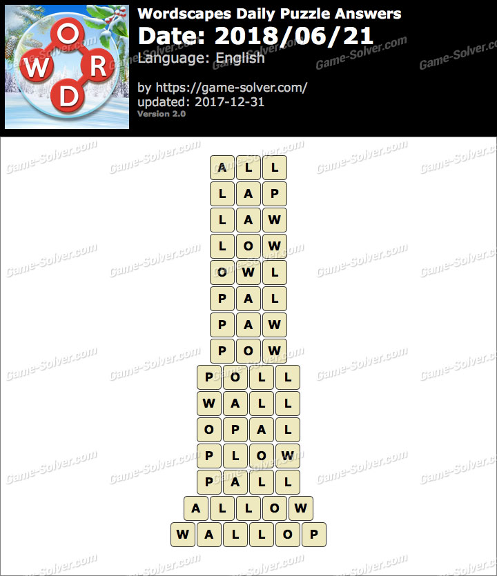 Wordscapes Daily Puzzle 2018 June 21 Answers