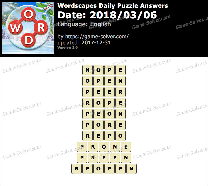 Wordscapes Daily Puzzle 2018 March 06 Answers