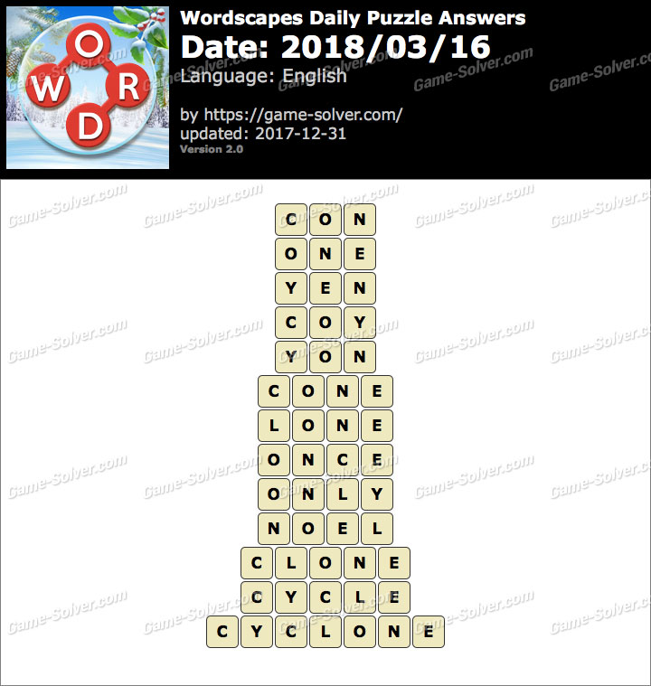 Wordscapes Daily Puzzle 2018 March 16 Answers