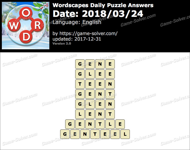 Wordscapes Daily Puzzle 2018 March 24 Answers