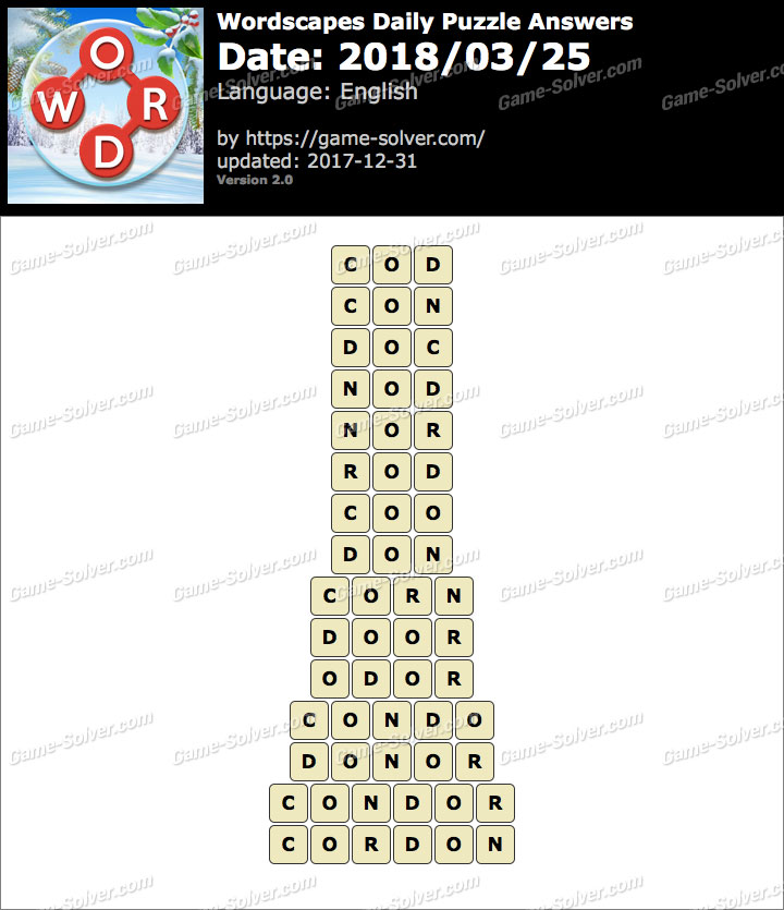 Wordscapes Daily Puzzle 2018 March 25 Answers