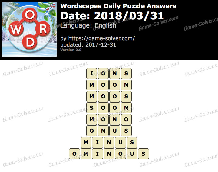 Wordscapes Daily Puzzle 2018 March 31 Answers