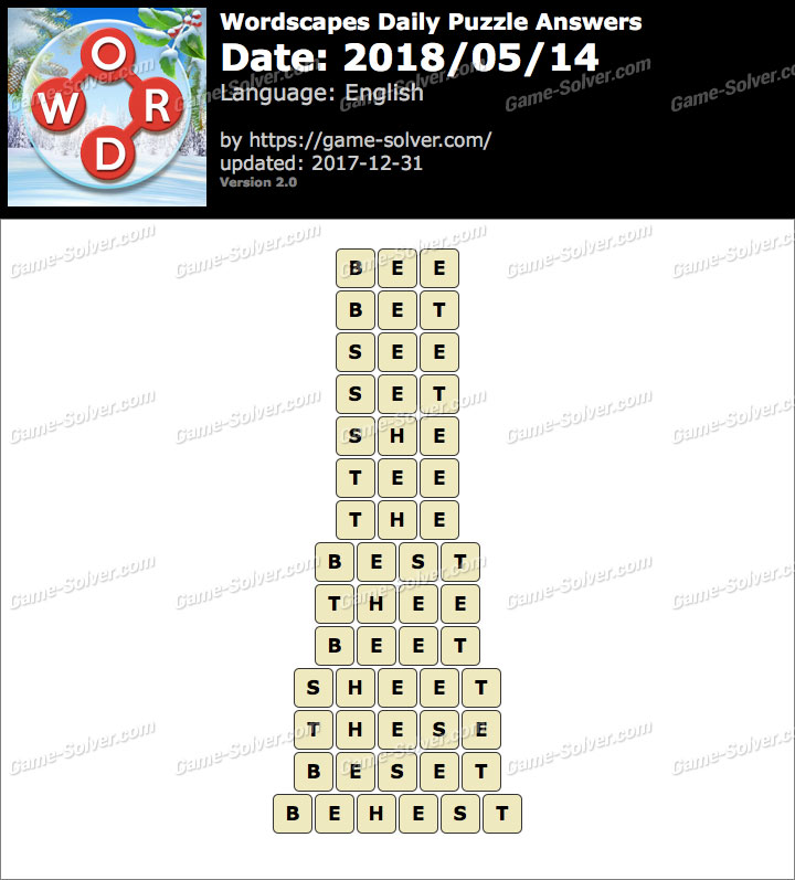 Wordscapes Daily Puzzle 2018 May 14 Answers