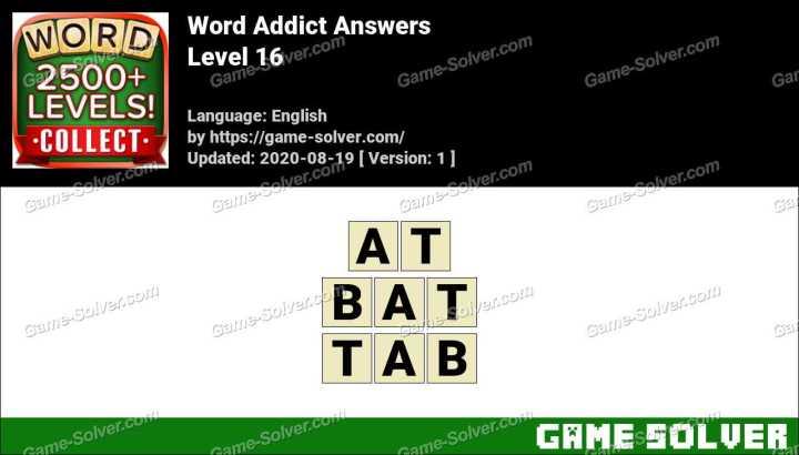 Word Addict Level 16 Answers