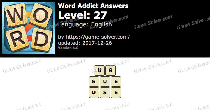 Word Addict Level 27 Answers