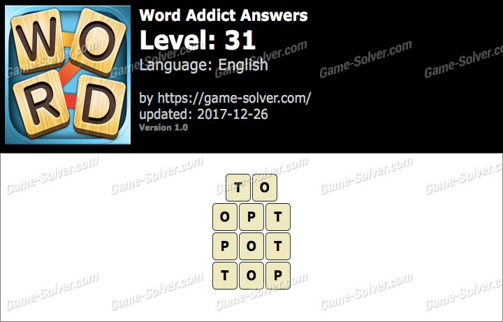 Word Addict Level 31 Answers
