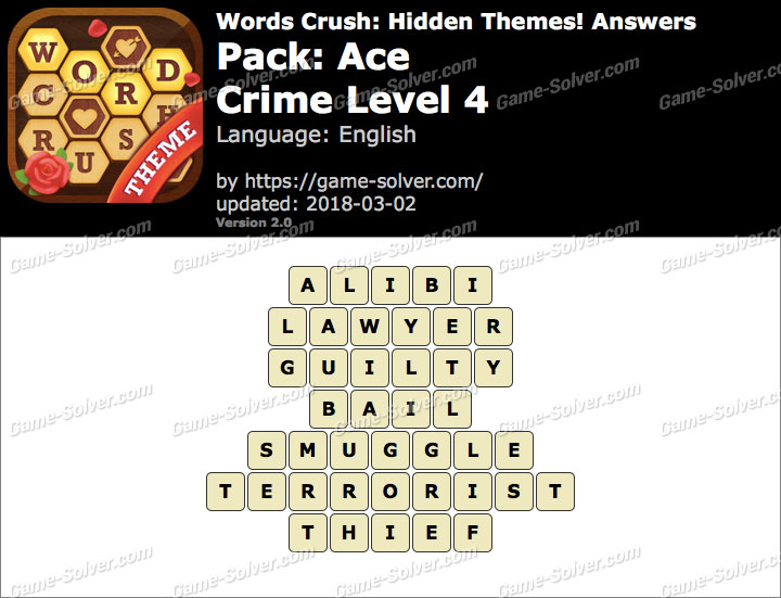 Words Crush Ace-Crime Level 4 Answers
