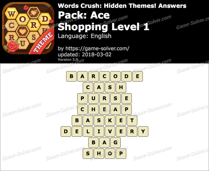 Words Crush Ace-Shopping Level 1 Answers
