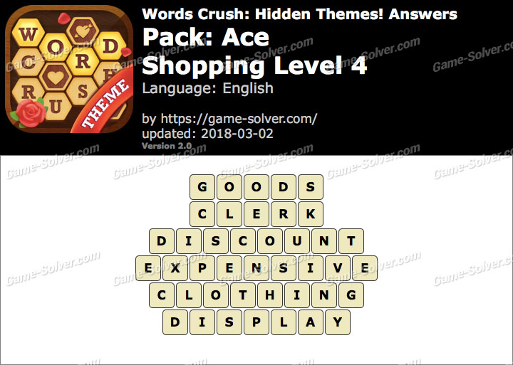 Words Crush Ace-Shopping Level 4 Answers