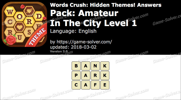 Words Crush Amateur-In The City Level 1 Answers