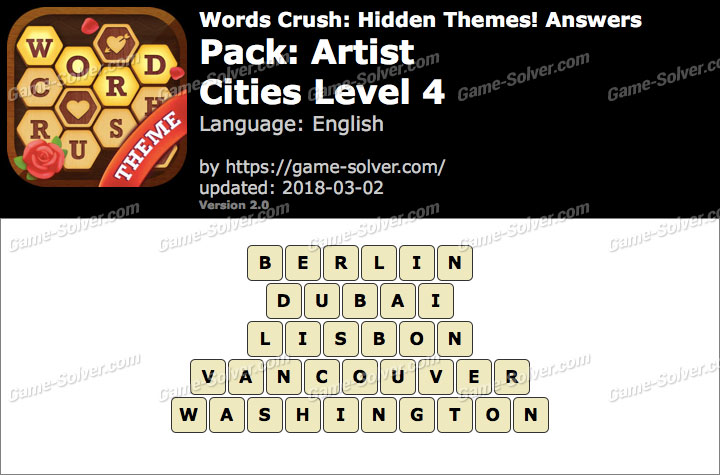 Words Crush Artist-Cities Level 4 Answers