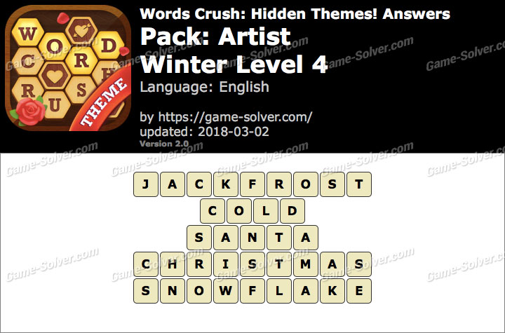 Words Crush Artist-Winter Level 4 Answers