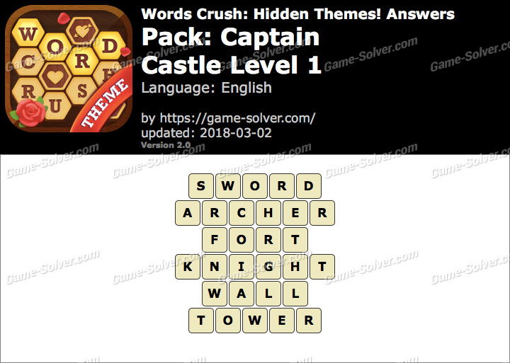 Words Crush Captain-Castle Level 1 Answers