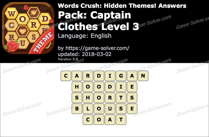 Words Crush Captain-Clothes Level 3 Answers