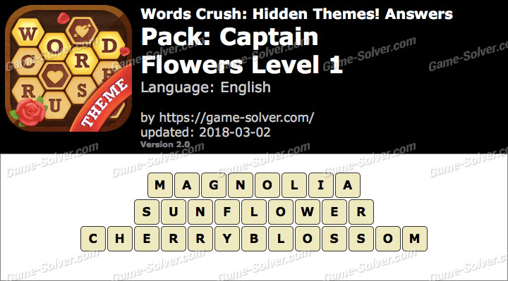 Words Crush Captain-Flowers Level 1 Answers